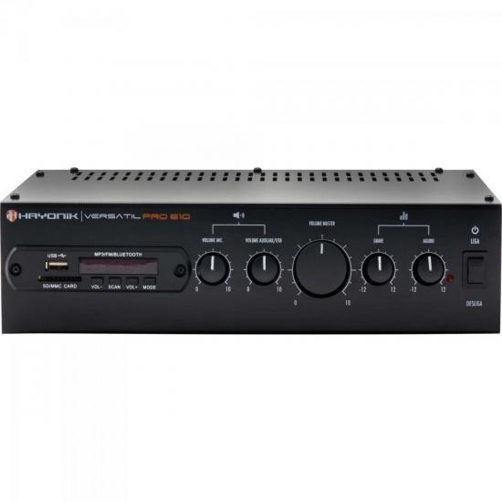 Amplificador 100w Com Bluetooth Versatil Pro-610 Preto Hayon