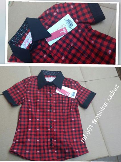 Camisa Social Xadrez Menina