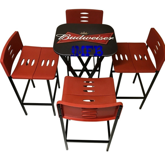 Jogos De Mesa Bar Bistrô Linha Beer Com 4 Banquetas Vermelha