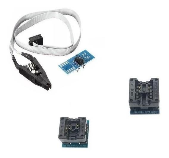 Kit 3 Adaptadores Soic8 Para Dip8 Eprom 150mil 200mil +pinça