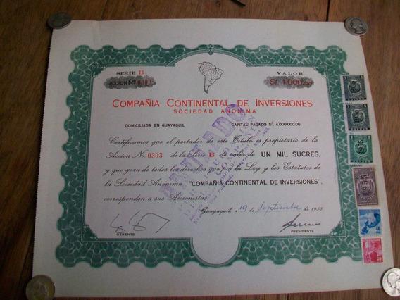 Antigua Acción De Comp. Continental De Inversiones, 1.955.