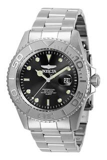Reloj Invicta Original Pro Diver Pulso Plateado Esfera Negra