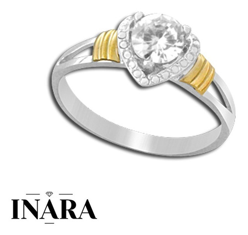 Anillo Plata Y Oro Con Cúbic Diseño Corazón. Inara 02007 91