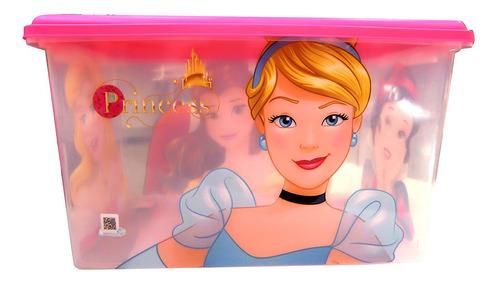Organizador 46 Litros Con Traba - Disney Princesas