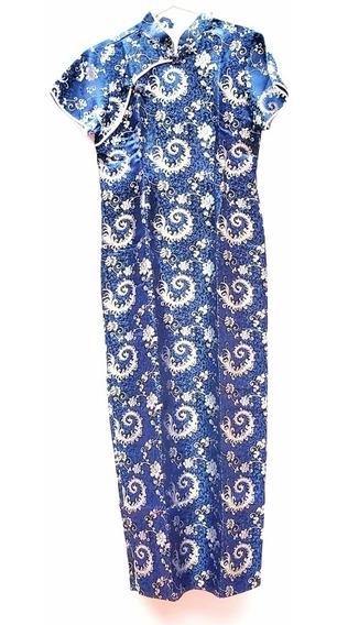 Vestido Chines Tradicional Azul Com Prata