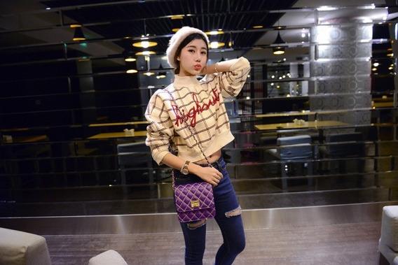 Nova Moda Mulheres Cross Body Bag Acolchoado Design Cadeia D