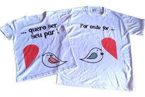 2 Camisetas - Camisa Casal Pássaros Namorados Noivos
