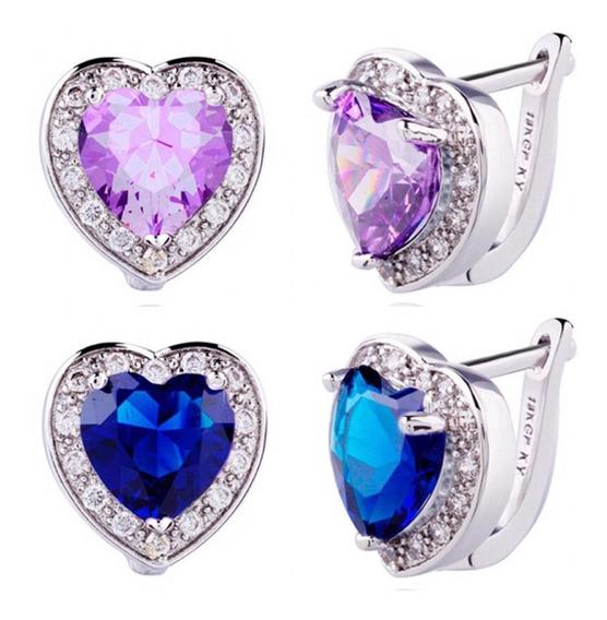 Brinco Coração Prata Com Pedra Roxa E Azul E Zircônias