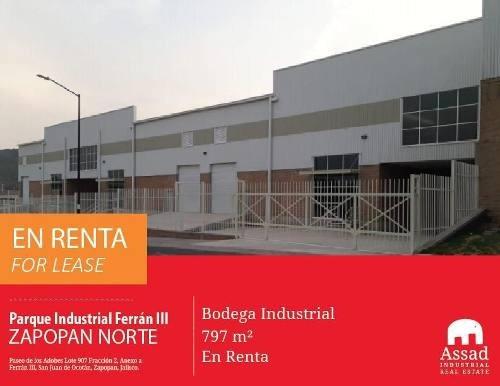 Renta Bodega - Zapopan Norte - Parque Industrial Ferrán Iii 676-2244m2
