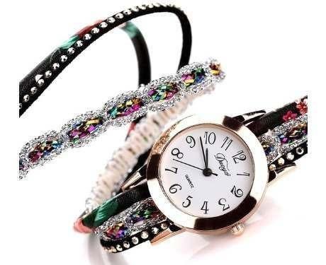 Relógio Pulseira De Pulso Elegante Feminino Tecido De Couro