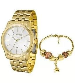 Kit Relógio Feminino Dourado Lince Lrg4551l Ku87