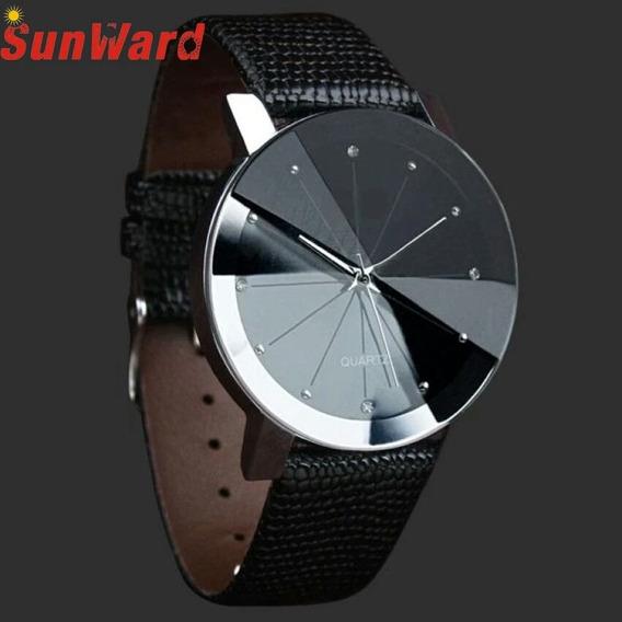 Relógio Casual Pulseira De Couro Preta Quartz Luxo