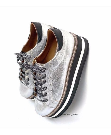 Zapatillas Mujer Sneakers Plataforma Bendito Cuero Alexia