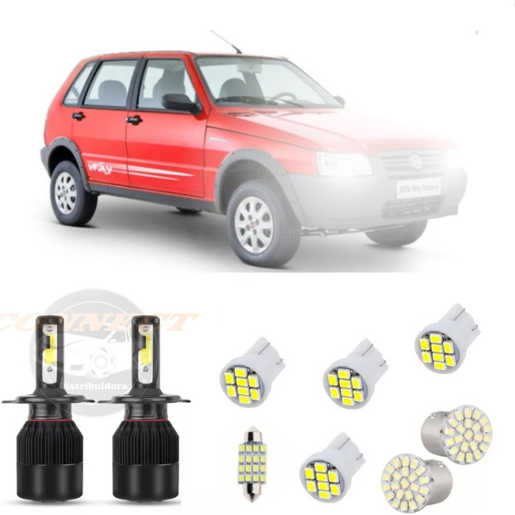 Kit Lampadas Led Fiat Uno Mille Way Fire + H4 20000 Lumens