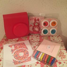 Kit Instax Mini 8 Vermelho Case, Lentes E Acessórios