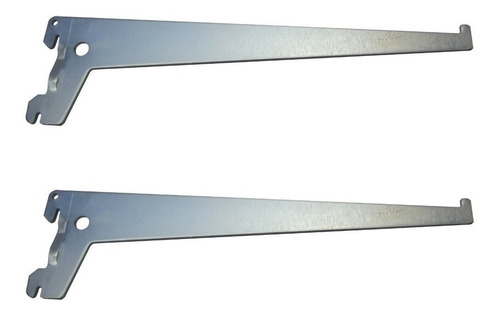 Imagem 1 de 6 de Suporte Cremalheira Simples Para Prateleira Zincado 30cm-par