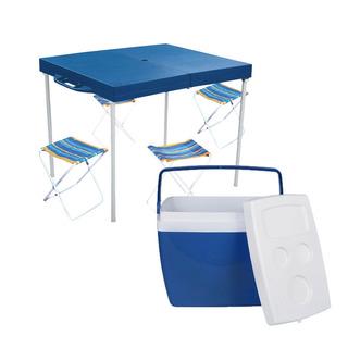 Mesa Prática Com Banquetas + Caixa Térmica Cooler 34l - Mor