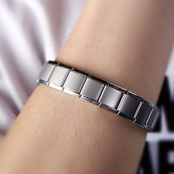 Pulseira Bracelete Anti Stress Em Aço Titânio