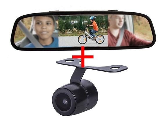 Espelho Retrovisor Monitor Lcd 4.3 + Câmera De Ré Borbolet