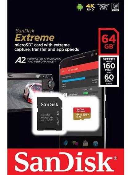Cartão Memória Sandisk Extreme Micro Sd 64gb V30 160mbs Lacrado 4k Sdxc Original