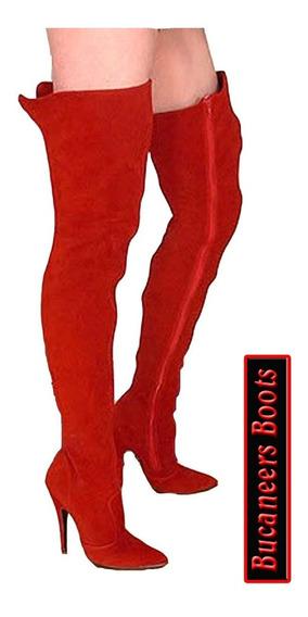 Botas Bucaneras Lady In Red, Taco Fino Y Cuero Pu