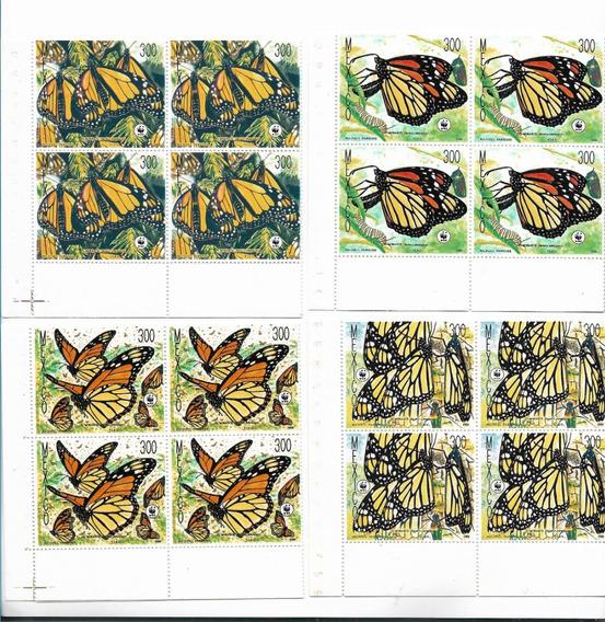Estampillas De México Mariposas En Cuadro Mint Insectos