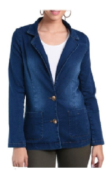 Blazer Saco Elastizado De Jean De Mujer Jonaro Jeans