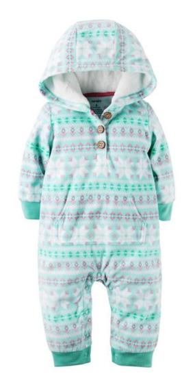 Pijama Macacão Sem Pé Carters Fleece Soft Capuz Menina
