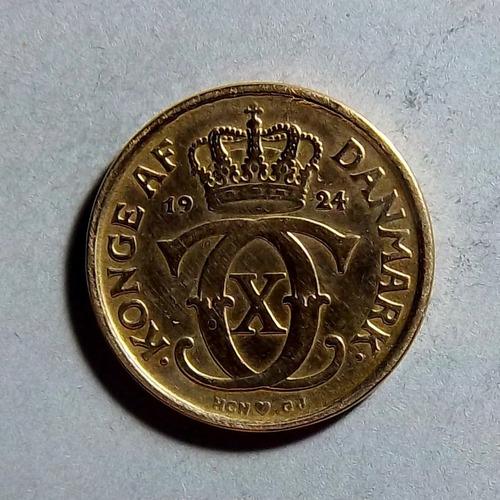 Dinamarca 1/2 Corona 1924 Bueno Km 831