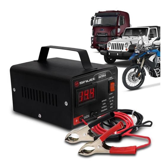 Carregador Bateria Automotivo 5a Bivolt Com Voltímetro Shutt