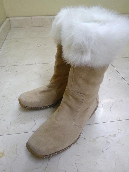 #1 Botas Piel Gamuza Beige Talla 4 Niña Dama Zapato Calzado