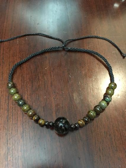 Collar Artesanal Macrame Con Piedra Natural