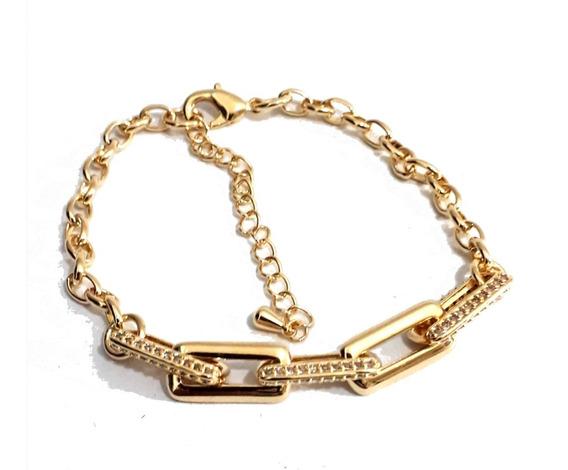 Pulseira Dourada Com Quadrados, Cravejados, Banhada A Ouro