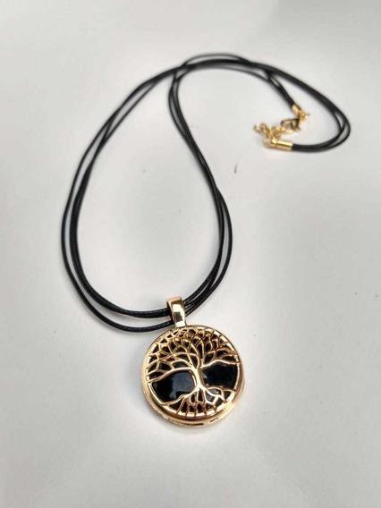 Cordão Árvore Da Vida Obsidiana Negra