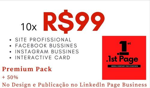 Imagem 1 de 3 de Pack Premium Site + 2 Mídias Sociais + Logo E Int. Card