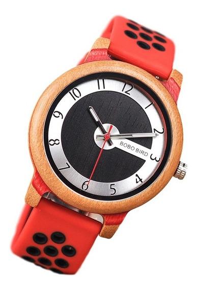 Relógio Unissex Madeira Analógico R11 Bobo Bird