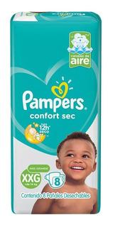 Pañales Pampers Confort Sec Pod Xxg.8u