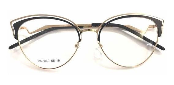 Óculos Armações Feminino Para Grau Metal Chic New Trend -289