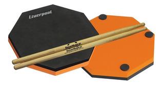 Kit Pad Estudo Bateria Praticável + Par Baqueta 5a