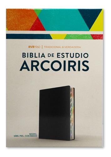 Imagen 1 de 4 de Biblia De Estudio Arcoiris Negro Símil Piel C / Índice