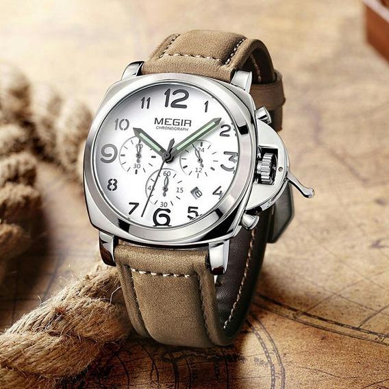 Relógio Megir 3406 Original Couro Prova D
