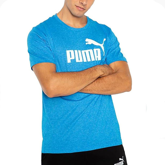 Remera Puma Ess+ Heather Tee Azul - Corner Deportes