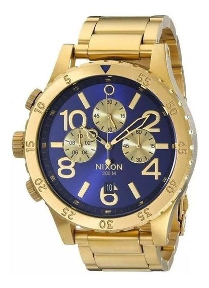 Relógio Gdm4383 Nixon 51-30 Dourado Azul Mod. 2020 C/ Caixa