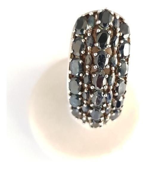 Magnífico Anel Prata 925 Pedra Preciosa Natural Safiras!!!!!
