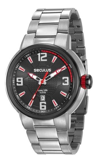 Relógio Seculus Masculino 23598gpsvca1 Esportivo Prateado
