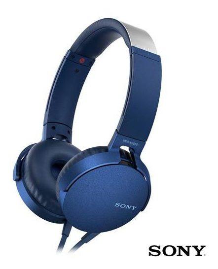 Fone De Ouvido Sony Headphone Extra Bass Azul - Mdr-xb550apl