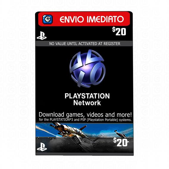 Cartão Psn Card Playstation Network Store $20 Dólares Usa