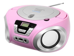 Toca Cd Radio Portatil Bluetooth/usb/cd/fm Bivolt - Rosa