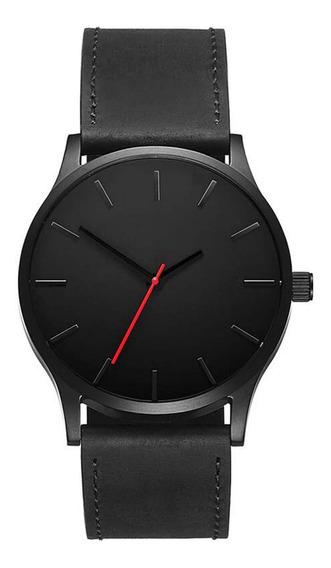 Reloj Hombre Cuarzo Correa Piel Negro Envio Gratis