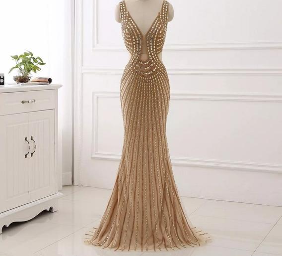 Vestido Sirena Todo Bordado Gemas Strass Negro Con Dorado